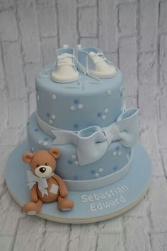 New Baby Boy Baptism Cale Christening Shower Ideas Ideas Torta Baby Shower, Baby Shower Kuchen, Baby Shower Cakes For Boys, Baby Boy Cakes, Baby Boy Shower, Fondant Baby, Fondant Cakes, Fondant Rose, 3d Cakes