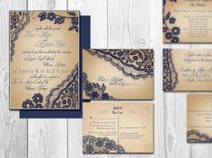 Printable Lace Elegant WEDDING INVITATIONS - Bellevue Suite (Navy Blue Lace invitation and rsvp postcard) by Elisa H.