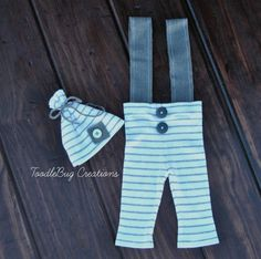 Newborn Photography Pants   Upcycled Gray & White Striped Set by ToodleBugCreations, $25.00