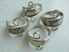 vintage silverware napkin rings | Silverware Napkin Rings, Antique Silver Forks, Set of 4, Lot 5. $38.95 ...