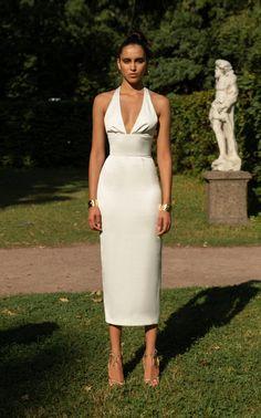 b40858f3a5 Satin Halter Sheath Dress by Rasario SS19 Elegant Dresses
