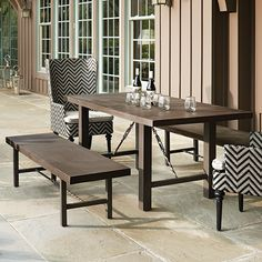 "VERTICAL SIDING Julian Outdoor 69"" x 36"" Rectangle Concrete Dining Table"