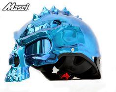 MASEI ORANGE CHROME SKULL 489 MOTORCYCLE CHOPPER HELMET FOR HARLEY DAVIDSON BIKER  - sales@maseihelmets.com