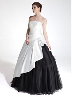 A-Line/Princess Strapless Floor-Length Taffeta Quinceanera Dress With Embroidered Ruffle Beading (021017120) - JJsHouse