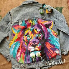 Image result for painted denim jacket