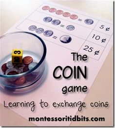 The Coin Game:  Teaching kids how to exchange coins, including printable for US and CAN coins