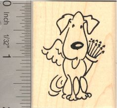 Dog Cupid Valentines Day Rubber Stamp (G13109) $9 at RubberHedgehog.com