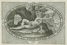 Crispijn van de Passe (I) | Mercurius, Crispijn van de Passe (I), 1592 | Landschap met Mercurius en zijn attribuut de haan. Hanen trekken gewoonlijk de wagen van Mercurius. Mercurius draagt zijn gevleugelde helm de petasus. In zijn hand houdt hij de caduceus. In de omlijsting een randschrift in het Latijn dat verwijst naar de rol die Mercurius speelde in het Oordeel van Paris. Mercurius brengt de godinnen naar Paris en fungeert als tussenpersoon. Deze prent maakt deel uit van een album.