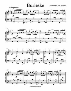 Free Piano Sheet Music – Burlesque – Notebook For Mozart – Musical instruments Free Piano Sheets, Free Sheet Music, Saxophone Sheet Music, Piano Sheet Music, Piano Lessons, Music Lessons, The Piano, Reading Music, Singing Lessons