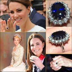 Kate Middleton wearing sapphire Engagement ring Catherine, Duchess of Cambridge's diamond eternity ring in addition to her Welsh Gold wedding band and Diana's sapphire engagement ring.