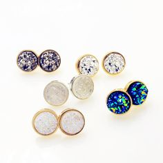 Stud Earrings  New Fashion accessories round Rock crystal design stud earring mix color size  gift for women girl Wholesale E3300 * AliExpress Affiliate's Pin. View the item in details by clicking the VISIT button