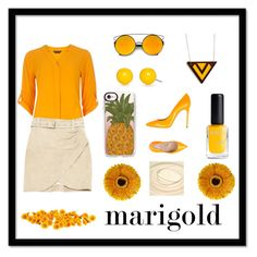 """""""Marigold"""" by liffie ❤ liked on Polyvore featuring Casetify, Dorothy Perkins, IRO, Casadei, Kim Rogers and Certified International"""