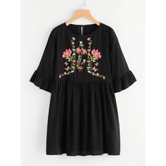 SheIn offers Botanical Embroidered Trumpet Sleeve Smock Dress & more to fit your fashionable needs. Casual Summer Dresses, Casual Outfits, Cute Outfits, Casual Wear, Cute Dresses, Short Dresses, Fashion Gal, Kurti Designs Party Wear, Embroidery Dress
