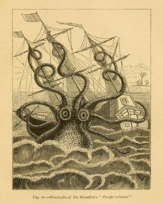 "Vintage Sea Monster Print Colossal Squid"" Antique Mythological Print - Nautical Sailor Pirate Ship"