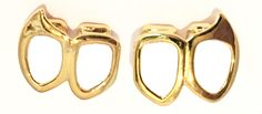 Gold Lower Double Open Face Fangs Grillz Set (Left & Right)
