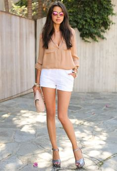 Creme Brulee  , Pink & Pepper in Heels / Wedges, Asos in Shorts, Haute Hippie in Shirt / Blouses, Marc Jacobs in Bags