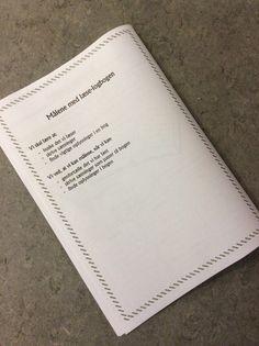 Bagsiden af den nye læse-logbog... Målene for at bruge bogen...