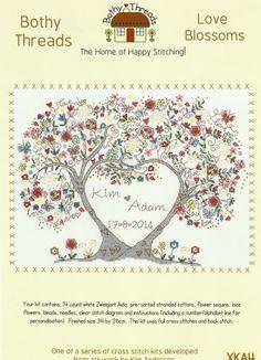 Bothy Threads Love Blossoms Wedding Sampler Counted Cross Stitch Kit 34x26cm New | eBay