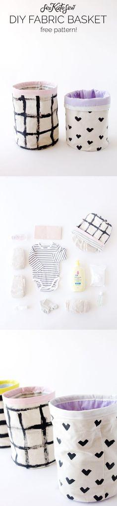 Fabric Bucket Tutorial | DIY fabric basket | how to sew a basket | diy diaper basket | sewing tips and tricks | sewing tutorials | free sewing patterns || See Kate Sew #diybasket #sewingtutorial #easysewing