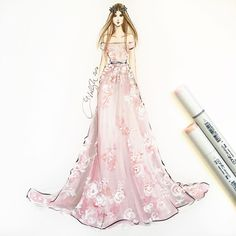 """Holly Nichols on Instagram: """"@zuhairmuradofficial sketched using @copicmarker and acrylics #zuhairmurad #zuhairmuradcouture #pfw #parisfashionweek #pfw16 #couture…"""""""