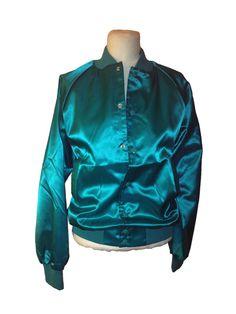 Vintage Teal Shiny Sports Jacket Size Small by DIYstylist on Etsy, $14.99