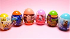 6 Surprise Eggs - Minion Eggs, Dory Eggs, Scary Eggs, Hello Kitty, Turtl...