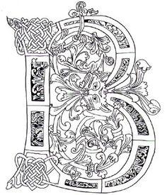 Illuminated Letter B Celtic zentangles