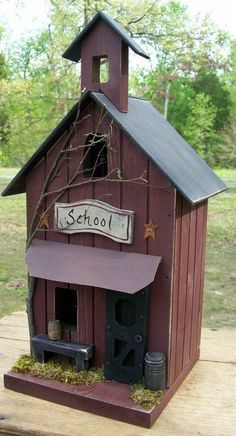 Gooseberry Creek Designs - Original design and handmade by the artists at Gooseberry Creek Rustic School - Lighted but, can be made into a functional birdhouse. The lighted version features a screen door which look awesome with the lighted shining through. All signs are hand painted so, if you wanted a specific school name on it, just let know know. Size: 15T, 8 1/4W, 7 1/2D Includes light and cord for the lighted version. Thank you for looking
