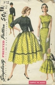 """An original ca. 1955 Simplicity Pattern 1412.  Junior Misses' and Misses' One-PieceDress with Two Skirts and Jacket: """"Simple to Make"""" dresses in the two popular silhouettes are shown. Ribbon or braid trims view 1 skirt. View 2 has a pleat in back for walking ease. Higher cut neckline is accented with two welts. Waist length jacket has a small collar and kimono sleeves with turn back cuffs."""