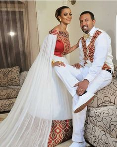 Image may contain: 2 people, wedding Traditional Wedding Attire, African Traditional Wedding, African Traditional Dresses, Traditional Outfits, African Print Dresses, African Fashion Dresses, African Dress, Ethiopian Wedding Dress, Ethiopian Dress