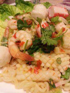 Jackie's Thai Food - Seafood Salad Thai Recipes, Seafood Recipes, Food Plus, Seafood Salad, Noodles, Shrimp, Good Food, Noodle Salad, Meat