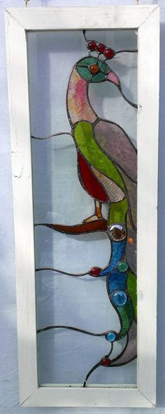 Handmade Colorful Stained Glass Peacock Sidelight Window | eBay