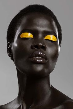 "continentcreative: ""Nina Anthony by Michael Myers, makeup by Jo Franco "" Yellow Makeup, Colorful Makeup, Yellow Lipstick, Michael Myers, Black Pics, Maquillage Black, Black Girl Aesthetic, Beauty Shoot, Creative Makeup"
