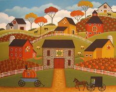 Autumn Barn Quilts Print By Mary Charles
