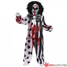 Dare to scare this Halloween with this Bleeding Killer Clown Boys Costume. Once you don this costume, it is sure to cut the laughter! This scary costume has it all! This costume comes with the jumpsuit, mask that pumps blood and the bow tie. Scary Halloween Costumes, Boy Costumes, Costume Ideas, Halloween Ideas, Halloween Nails, Halloween College, Halloween Makeup, Children Costumes, Halloween Party