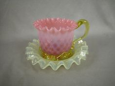 Stevens & Williams art glass cranberry and vaseline glass cup and saucer