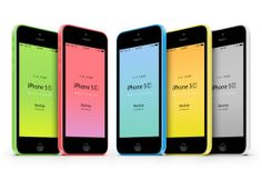Here is an iPhone5C 3/4 perspective mockup in green, blue, yellow, pink, and white. This scalable vector shape mockup uses smart layers to l...