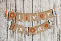 Woodland Owl Burlap 1st Birthday Name Banner by PhotograMomProps