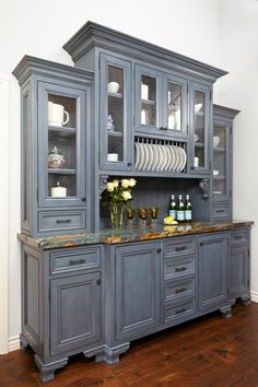 Looking for French Country Kitchen ideas? Browse French Country Kitchen images for decor, layout, furniture, and storage inspiration from HGTV. Kitchen Hutch Cabinet, Dining Room Hutch, Grey Kitchen Cabinets, China Cabinets, Buffet Hutch, Kitchen Storage, Dining Rooms, Glass Cabinets, Open Cabinets