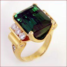 Tourmaline & Diamond Ring / 15.2 ct tourmaline / 18k yellow gold