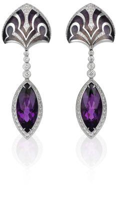 Amethyst, diamond, enamel and gold earrings.