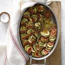 Ratatouille Gratin | One of our favorite vegetarian comfort dishes. This simple meal receives an elegant twist thanks to a mandoline and layering effect. #MeatlessMonday