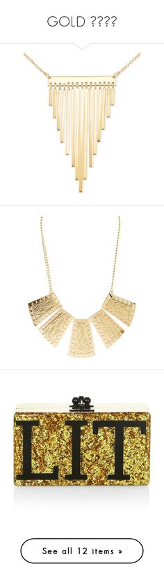 """""""GOLD 💛💛💛💛"""" by jjulibean ❤ liked on Polyvore featuring jewelry, necklaces, yellow gold, 18k necklace, 18k yellow gold necklace, sterling silver bar necklace, 18 karat gold necklace, fringe statement necklace, nakit and gold"""