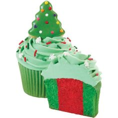 This holiday cupcake has it all: a tree cookie topper with colorful nonpareil lights, cool snowflake sprinkles and a two-tone cupcake in merry colors, made with Wilton's Two-Tone Cupcake Set.