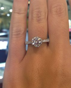 Perfect. Round, 5 prong. Side diamonds. Verragio Micro Pave Engagement Ring. Love the pink inside