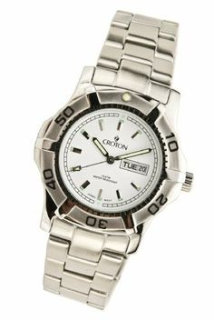 Croton Men's CA301051SSDW Stainless Steel Quart Watch Croton. $44.95. Precise and high-quality Japanese-quartz movement; durable mineral crystal. All stainless steel. Water resistant to 330 feet (100 M). day and date at 3:00. Rotating bezel. Save 82% Off!