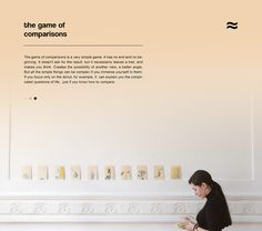 """Game of comparisons is an interactive extension of a """"Book of comparisons"""" which presents an interesting manual for explaining yourself to the world and explaining the world to yourself.The main goal of the game is a linkage of visual and textual soluti…"""