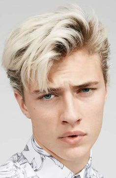 Lucky Blue Smith appears in the Spring/Summer 2016 catalog of Hudson's Bay, wearing pieces from J.Anderson, Rick Owens, Marni, Versace and more. Cult of Personality Bleached Hair Men, Dyed Hair Men, Men Blonde Hair, Bleach Blonde Hair, Mens Hairstyles 2018, Quiff Hairstyles, Mens Hairstyles Blonde, Man's Hairstyle, Cool Haircuts
