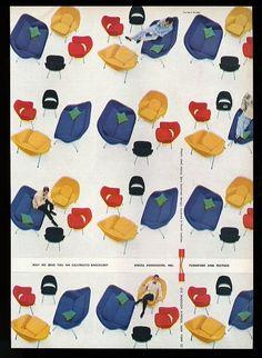 1956 Eero Saarinen Red Black Yellow Chair Blue Loveseat Photo Knoll Print Ad   eBay