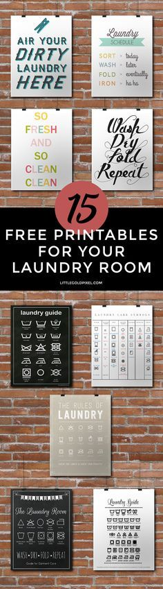 In which I share 15 laundry room free printables to help dress up your washing space. Fun, but not guaranteed to make you actually like doing laundry! Ha!